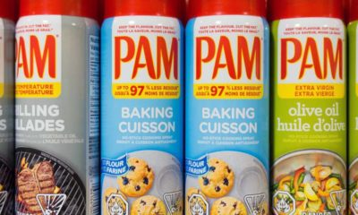 pam cooking spray cans on the store shelf